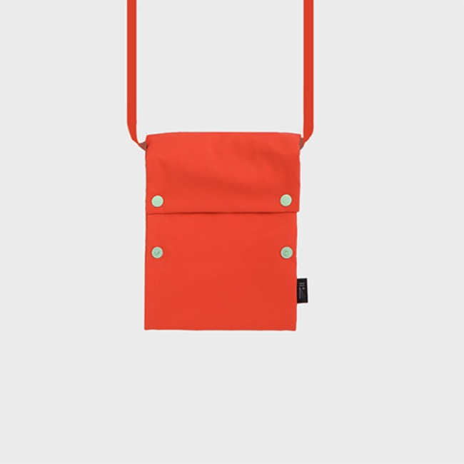 [공장] Two button book pouch cross_Flame orange
